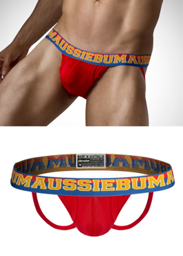 Jockstrap męski Aussiebum - Enlarge IT Sport Red czerwone