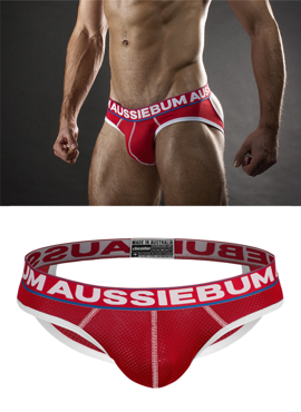 Jockstrap męski Aussiebum - Lasher Brief Xposed Red czerwone