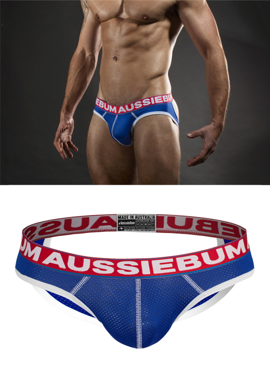 Jockstrap męski Aussiebum - Lasher Brief Xposed Royal niebieskie