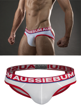 Jockstrap męski Aussiebum - Lasher Brief Xposed White białe