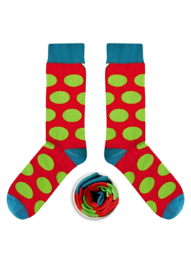 Skarpetki Cup Of Sox - Sox with the chickenpox A -  Rubinowe skarpety w zielone grochy