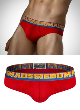 Slipy męskie Aussiebum - Enlarge IT Sport Brief Red czerwone