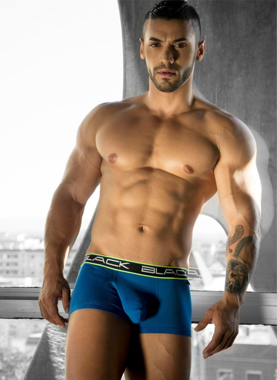Bokserki Andrew Christian - Black Collection Boxer niebieskie