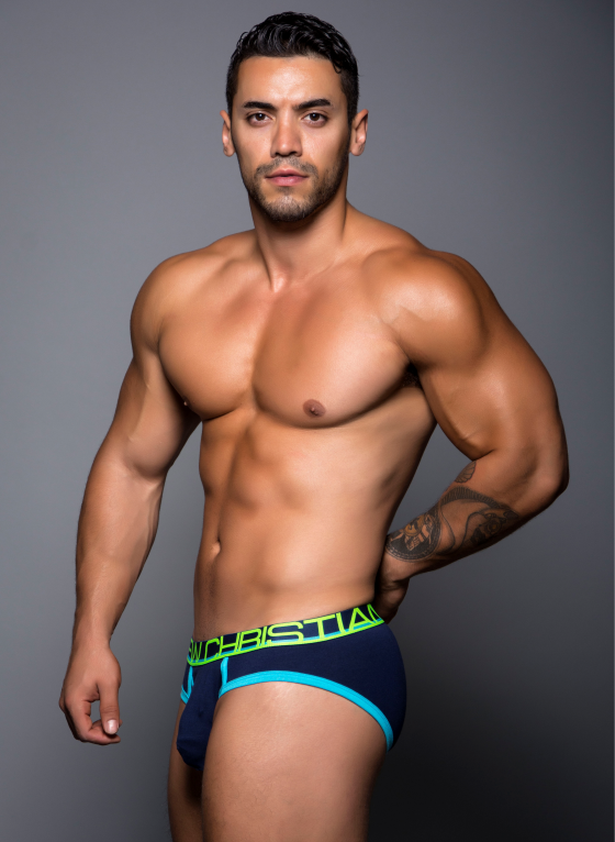 Slipy męskie Andrew Christian - Fly Tagless Brief granatowe
