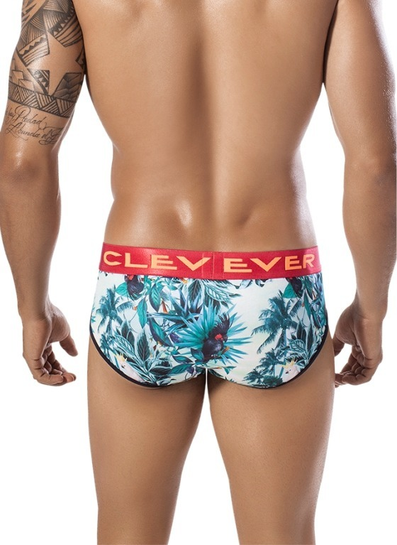 Slipy męskie Clever Moda - Exotic Parrot Piping Brief zielone