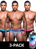 3-pack slipy męskie Andrew Christian -  Tagless Boy Brief w/ Almost Naked
