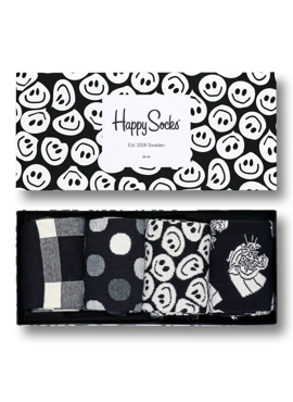 4-PACK SKARPETY HAPPY SOCKS - BLACK AND WHITE GIFTBOX XBLW09-9003