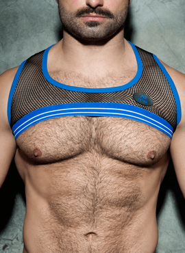 HARNESS SZELKI ADDICTED - ADF111 FETISH MESH STRIPE HARNESS ROYAL BLUE