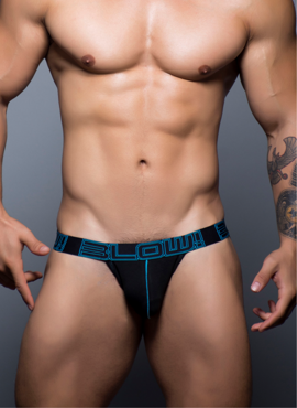 JOCKSTRAP MĘSKI ANDREW CHRISTIAN - BLOW! COTTON STRETCH JOCK CZARNY