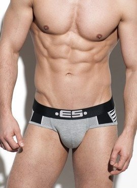 SLIPY MĘSKIE ES COLLECTION - STRIPE MIX BRIEF HEATHER GREY