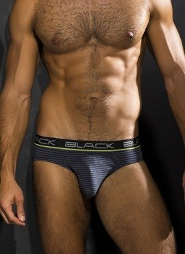 Slipy męskie Andrew Christian - Black Collection Cotton Stripe Charcoal/Navy