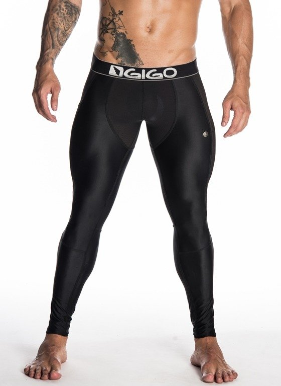 3c2a6c2532c9de LEGGINSY MĘSKIE GIGO - ACTIVE FRESH BLACK CZARNE czarny | Najlepsze Gacie w  Sieci !