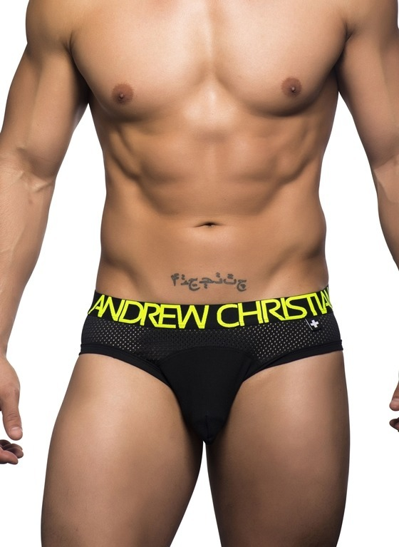 SLIPY MĘSKIE ANDREW CHRISTIAN - REACTION MESH BRIEF W/ALMOST NAKED BLACK