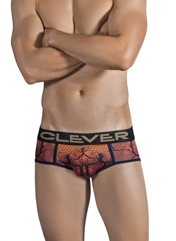 SLIPY MĘSKIE CLEVER MODA - CHAMELEON PIPING BRIEF BRĄZOWE